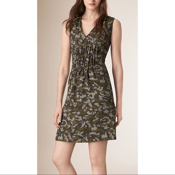 Burberry Dresses Womens Green Camouflage Print Silk Dress Poshmark